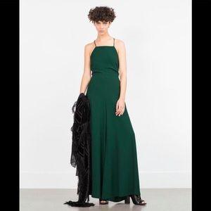 NWT Zara Woman Sz M Green Halter Wide Leg Jumpsuit